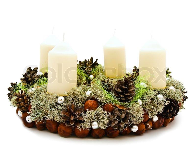 Christmas Handmade Garland With Candles And Natural