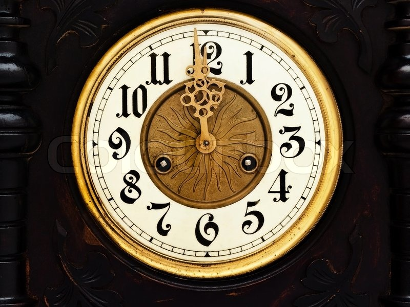 Old Wooden Clock With Golden Hands Show Twelve Stock