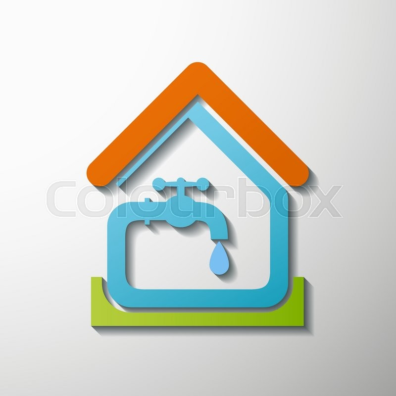 logo house tap water stock vector illustration stock. Black Bedroom Furniture Sets. Home Design Ideas