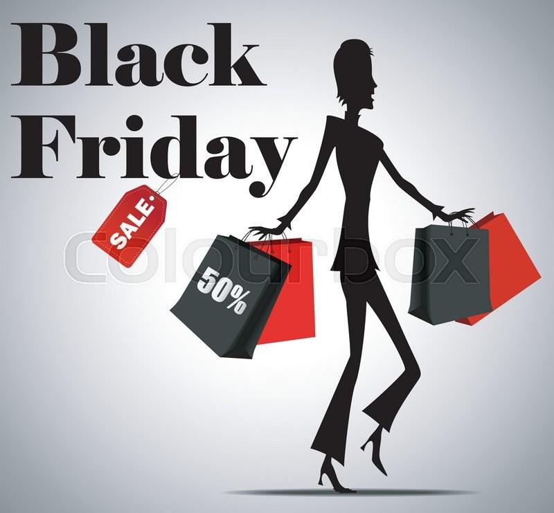 vector illustration of elegant shopping woman black friday advertising background template. Black Bedroom Furniture Sets. Home Design Ideas