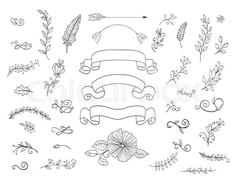 Set Of Floral Design Elements Doodle Stock Vector