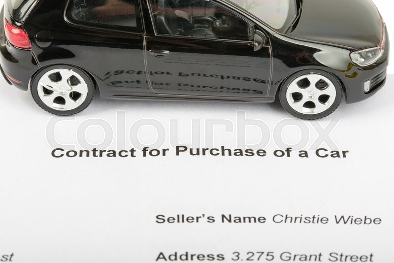 Stock image of 'Black car with contract isolated on white background'