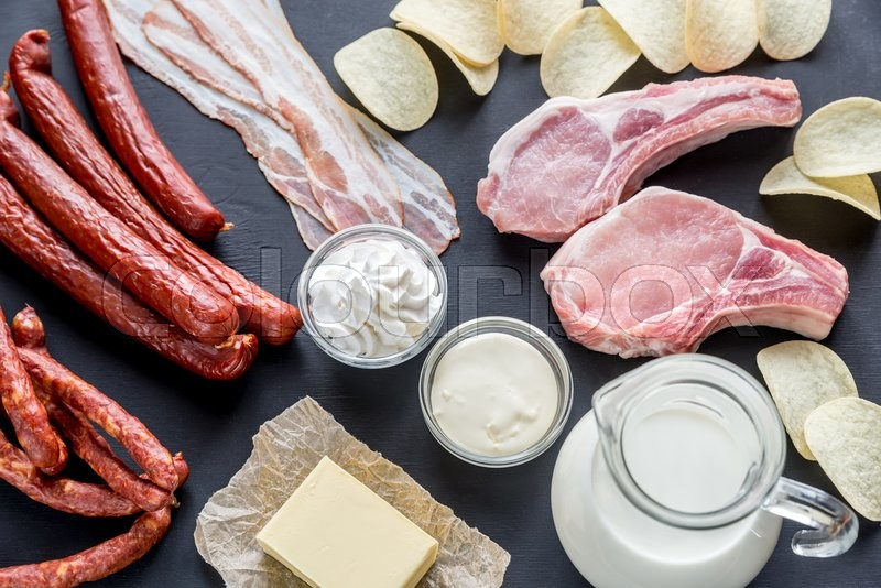 Sources of saturated fats, stock photo