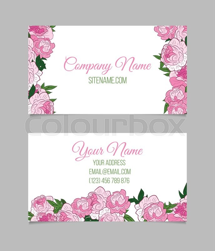 Double sided floral business card template with pink peonies stock double sided floral business card template with pink peonies stock vector colourbox fbccfo Images