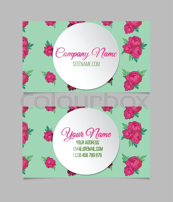 Double sided floral business card template with peonies and round double sided floral business card template with peonies and round place for text vector accmission Gallery
