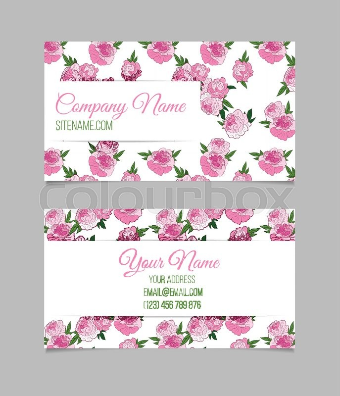 Double sided floral business card template with pink peonies on double sided floral business card template with pink peonies on white background stock vector colourbox wajeb Images