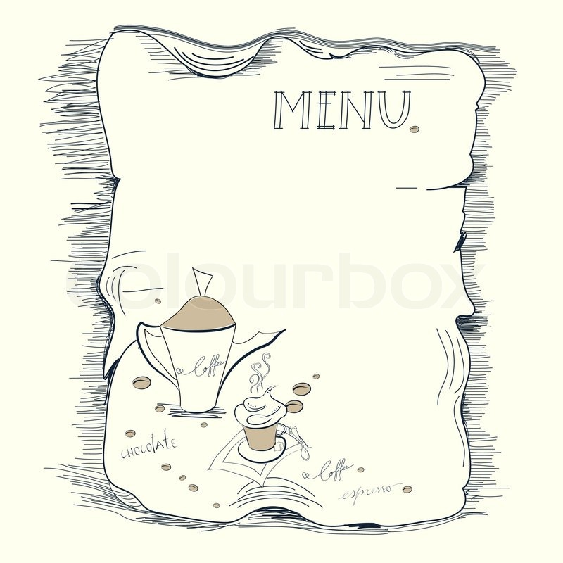 Vorlage für Kaffee-Menü | Vektorgrafik | Colourbox