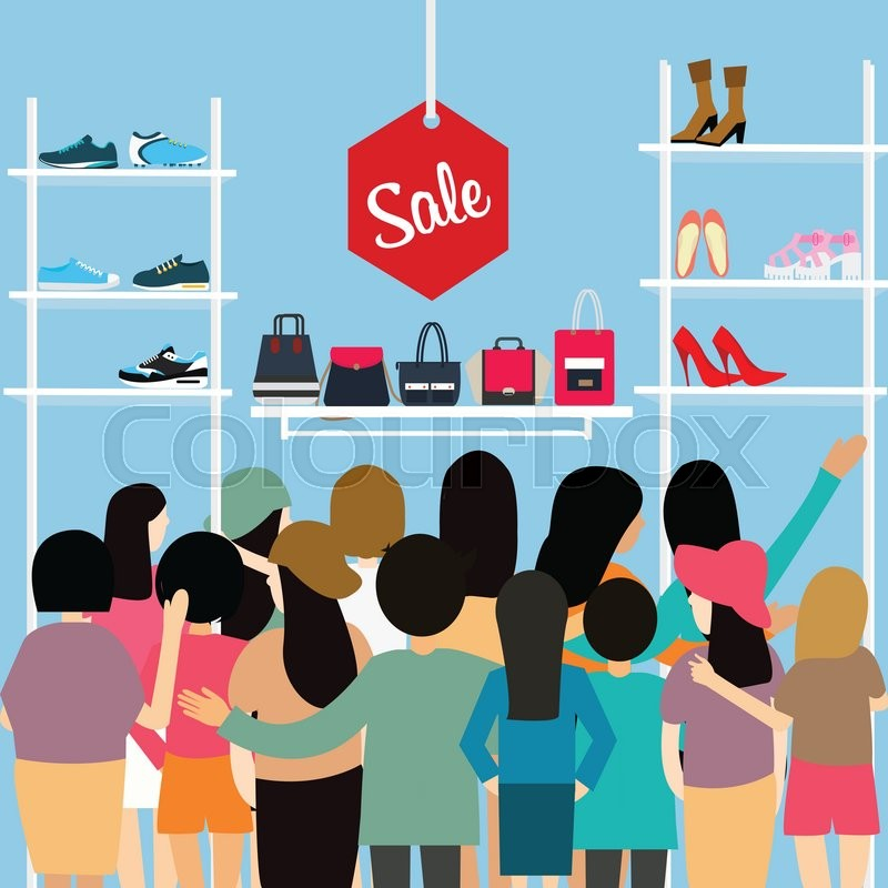 People crowd store sale discount shoe bag crowded shopping mall vector cartoon illustration cartoon, vector