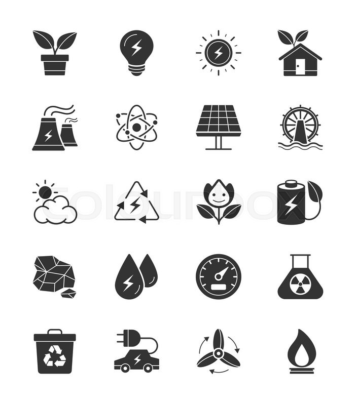 eco energy and power icons on white background