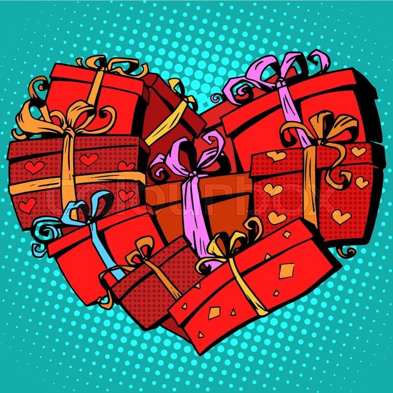 Box gift heart shaped Valentines day pop art retro style. Love romance ...