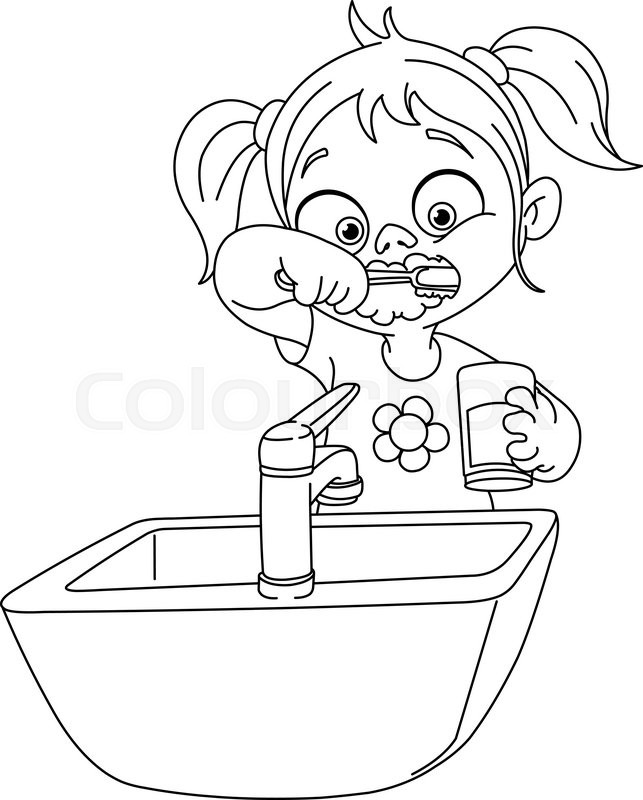 child brushing teeth coloring pages - photo#21