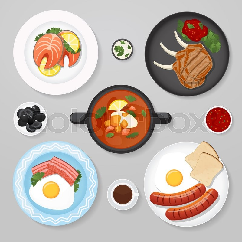 Food Business Flat Lay Idea Icons Top View Lunch Plates With Foot On It