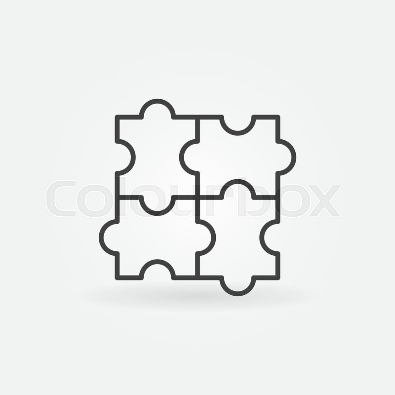 Puzzle linear icon - vector minimal jigsaw symbol or logo ...