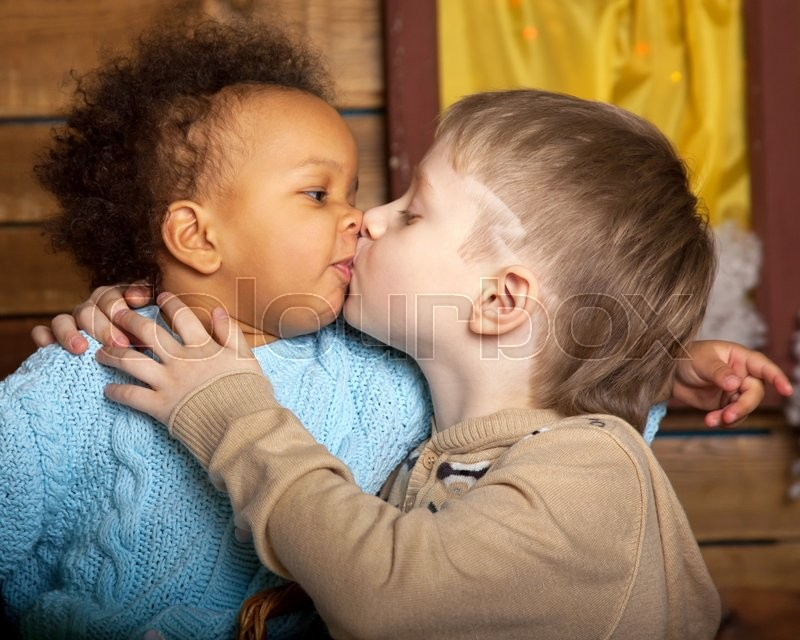 Black Girl Kissing White Boy Children Love  Stock Photo  Colourbox-8923