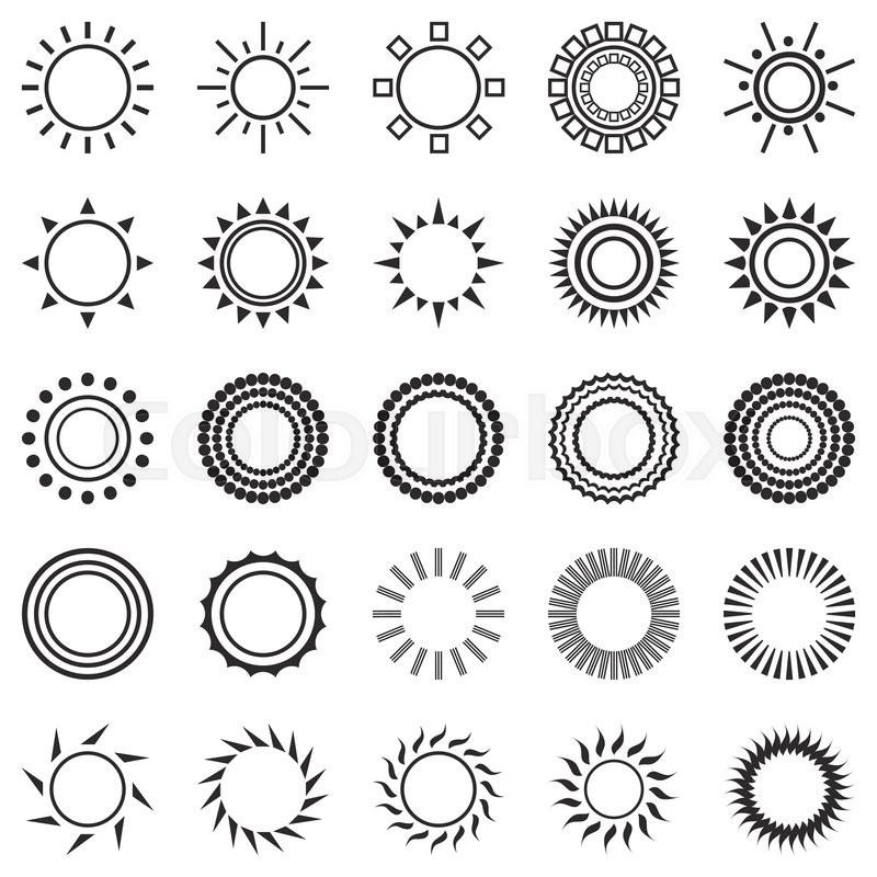 Set Of Sun Icons Isolated On White Background Creative Sunlight