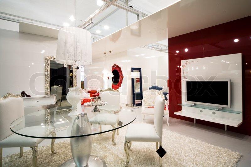 Schöne und moderne Möbel in Möbelhaus  Stockfoto  Colourbox