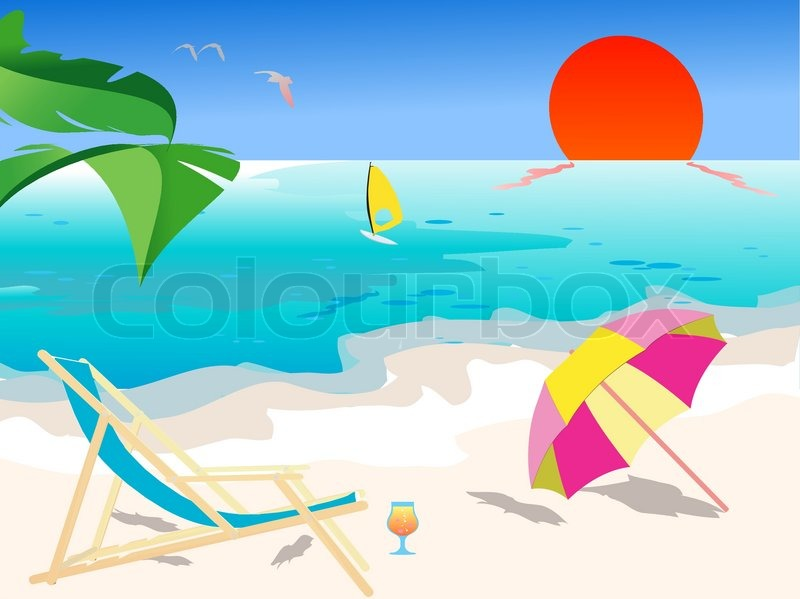 Summer beach scene - vector | Stock Vector | Colourbox