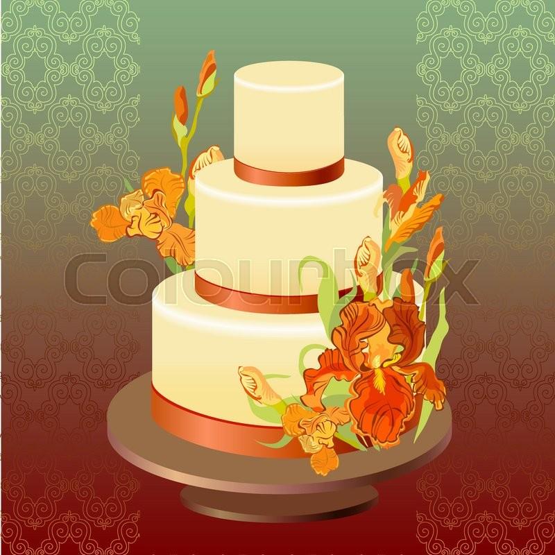 Wedding cake with red, orange, yellow, iris flowers. Beautiful ...