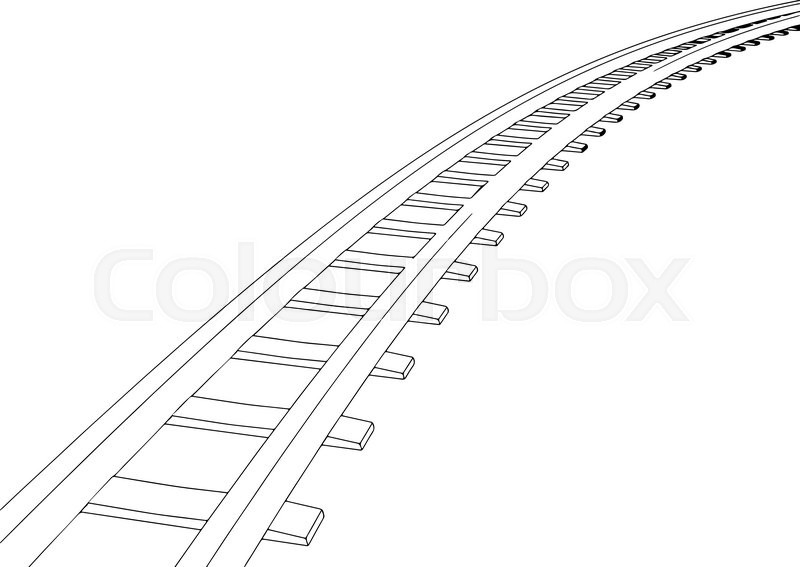 vector white sleepers and rails on a white background 1 stock