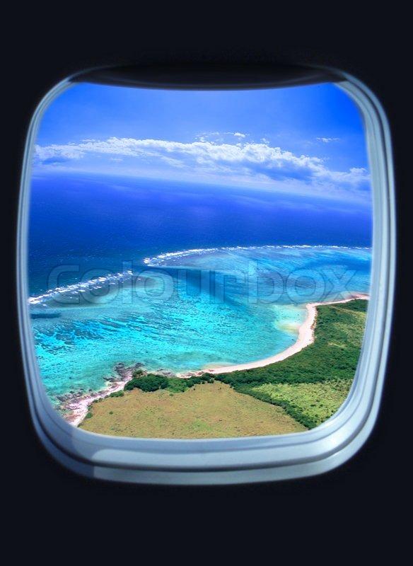 Schönen Blick Aufs Meer Aus Dem Fenster Stockfoto Colourbox