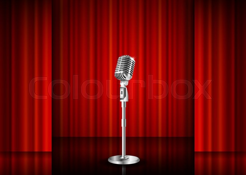 Vintage Metal Microphone Against Red Curtain Backdrop Mic
