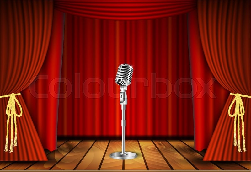 Vintage Metal Microphone Against Red Curtain Backdrop Mic On Empty Theatre Stage Art Image Illustration Stand Up Comedian Night Show Or Karaoke Party