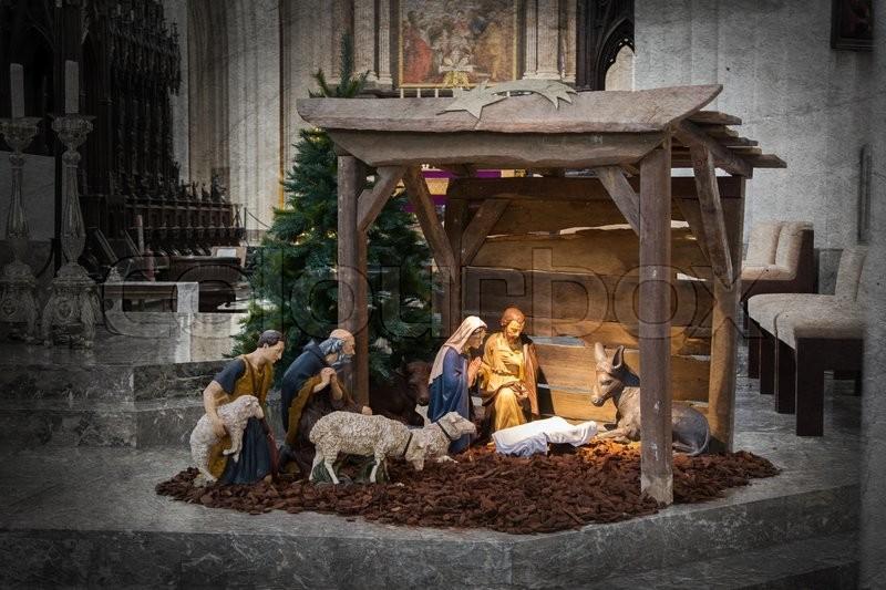 Christmas Crib Before Christmas The Stock Photo