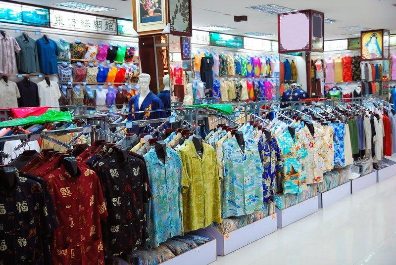 Big Cloth Shop In The Chinese Style Stock Photo Colourbox