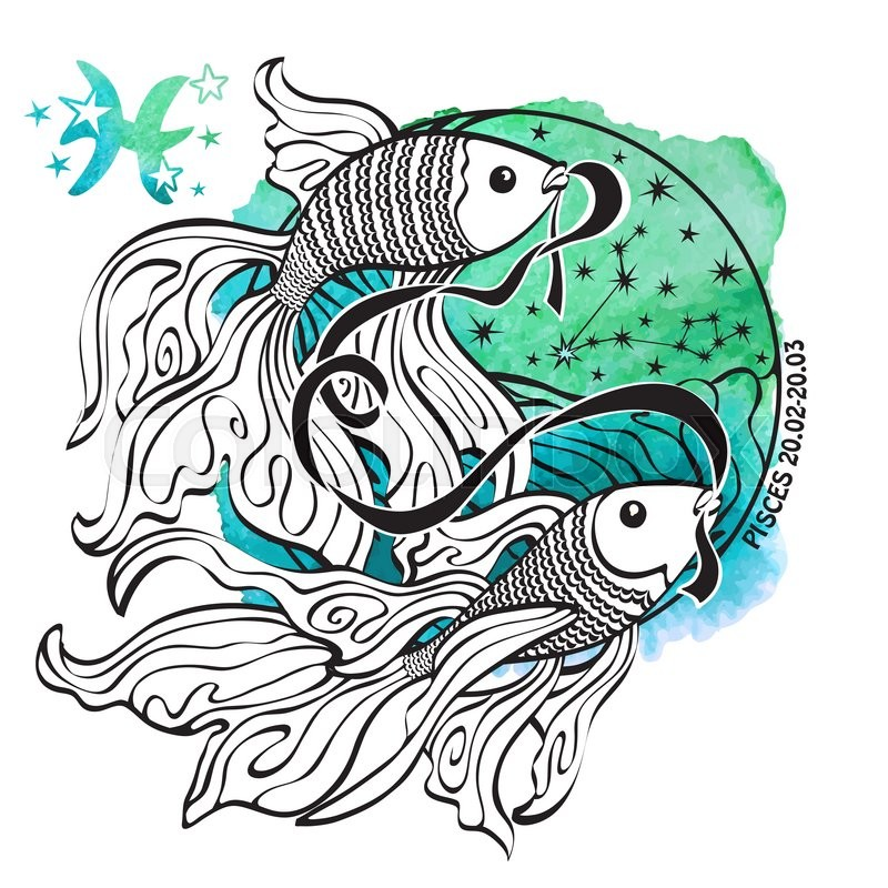 Pisces Horoscope Constellationstars In Circle CompositionWatercolor Splash Texturehand Painting ArtWhite BackgroundSymbolsign Of Water
