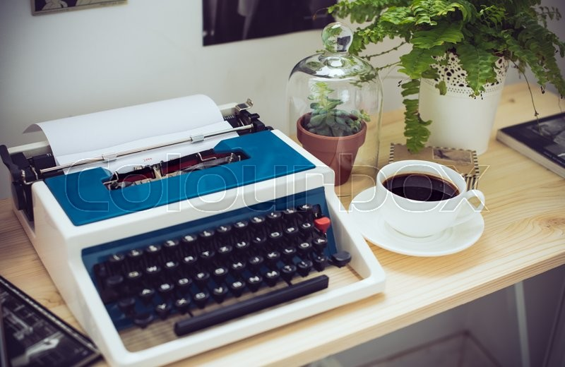 Stock Image Of U0027Stylish Hipster Work Space, Retro Typewriter And Green  Plants On Office