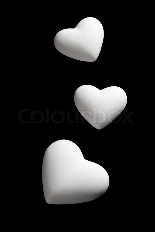 Stock image of 'Valentine's Day blank white Hearts Isolated on black Background with clipping path'