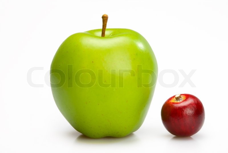 big and small apples two ripe apples red and green