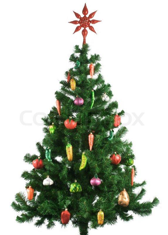 geschm ckter weihnachtsbaum auf wei em hintergrund stock foto colourbox. Black Bedroom Furniture Sets. Home Design Ideas