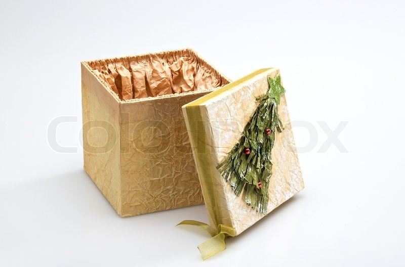 decorative christmas gift box opened isolated on white background stock photo colourbox - Decorative Christmas Gift Boxes With Lids