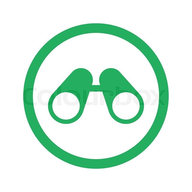 Flat Green Binoculars Icon And Green Circle Stock Vector Colourbox