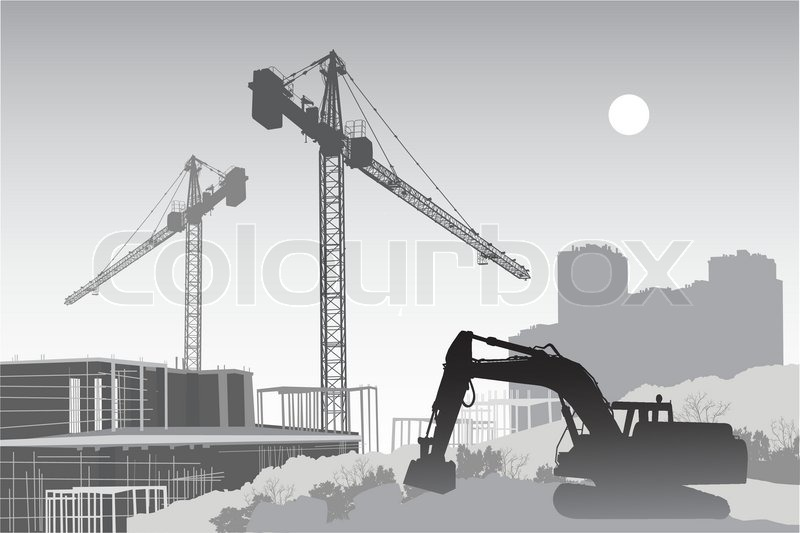 Image of the construction site with cranes, scaffolding ...