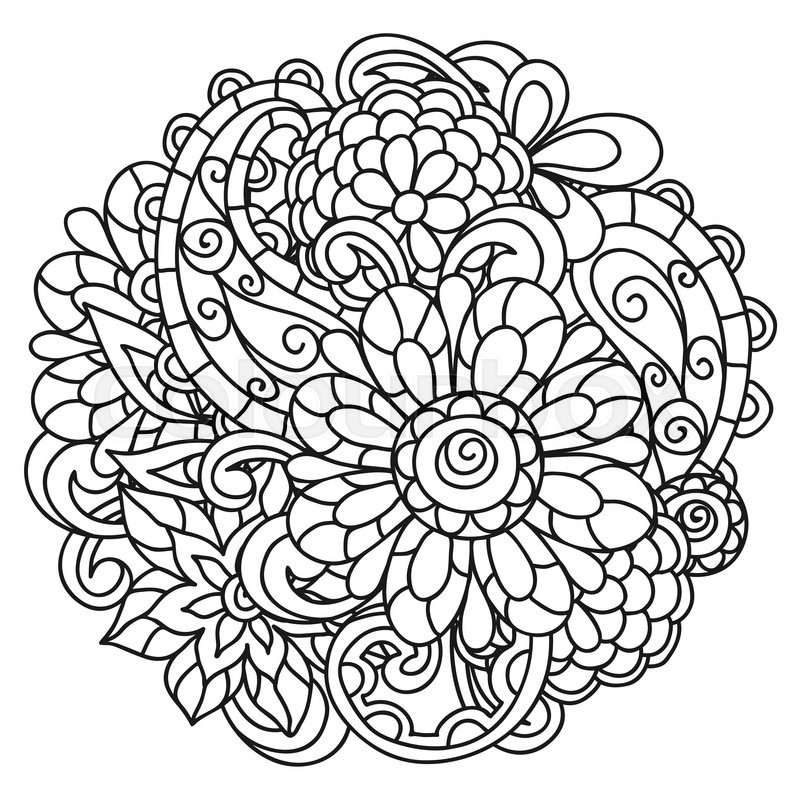 background with line flowers for adult coloring page