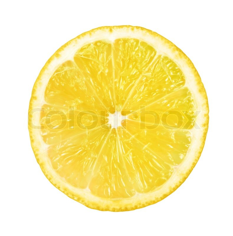 Slice Of Fresh Lemon Isolated On White Background Stock