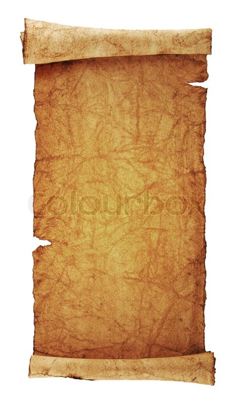 Scroll of old parchment, isolated on a white background ...