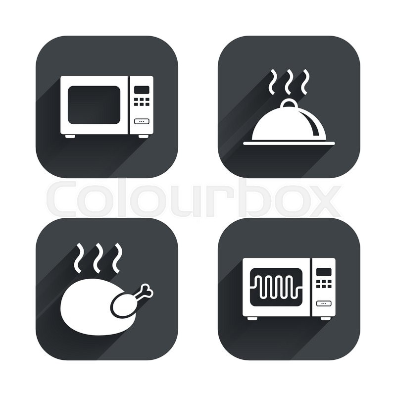 Microwave grill oven icons. Cooking chicken signs. Food ...