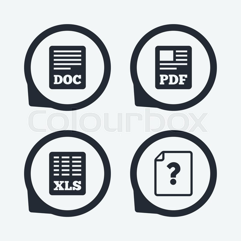 File Document And Question Icons Xls Pdf And Doc File Symbols
