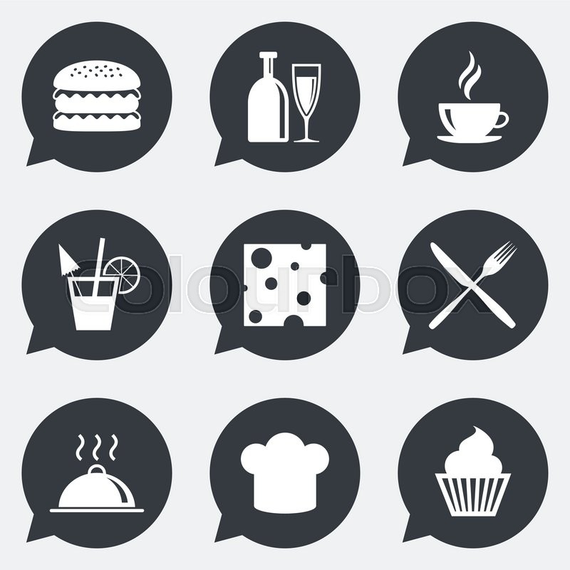 Food, drink icons. Coffee and hamburger signs. Cocktail, cheese and cupcake symbols. Flat icons in speech bubble pointers, vector