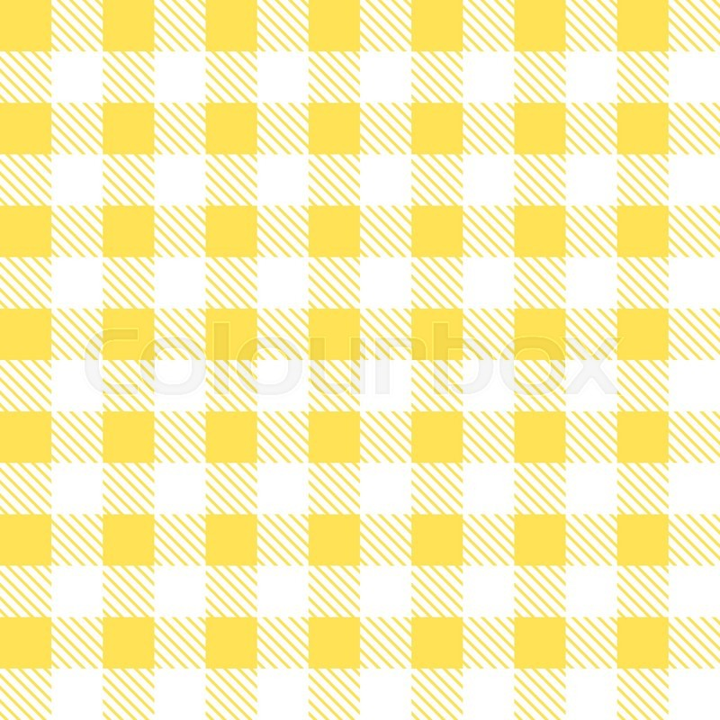 Kitchen Yellow Checkered Tablecloth Fabric Background. | Stock Vector |  Colourbox