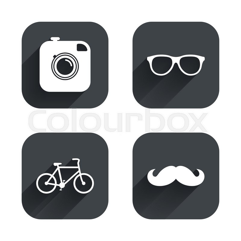 Hipster Photo Camera With Mustache Icon Glasses Symbol Bicycle
