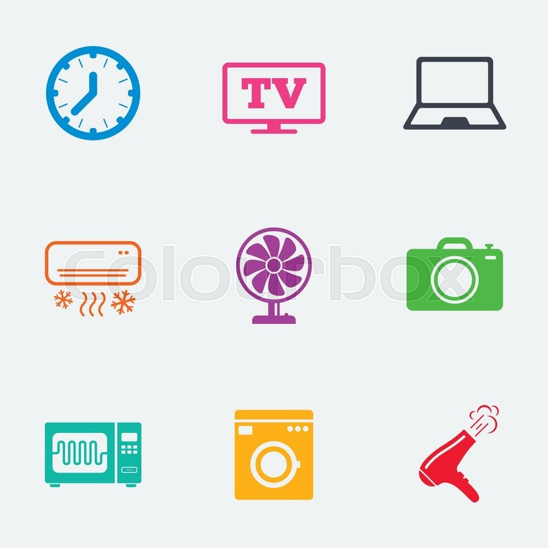 Home appliances, device icons. Electronics signs. Air conditioning ...