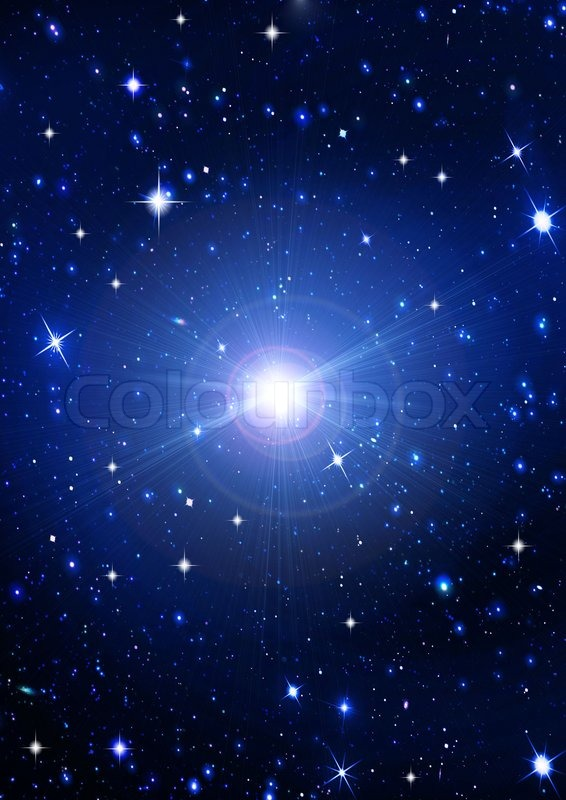 Bright Shone Stars In The Night Dark Blue Sky Stock