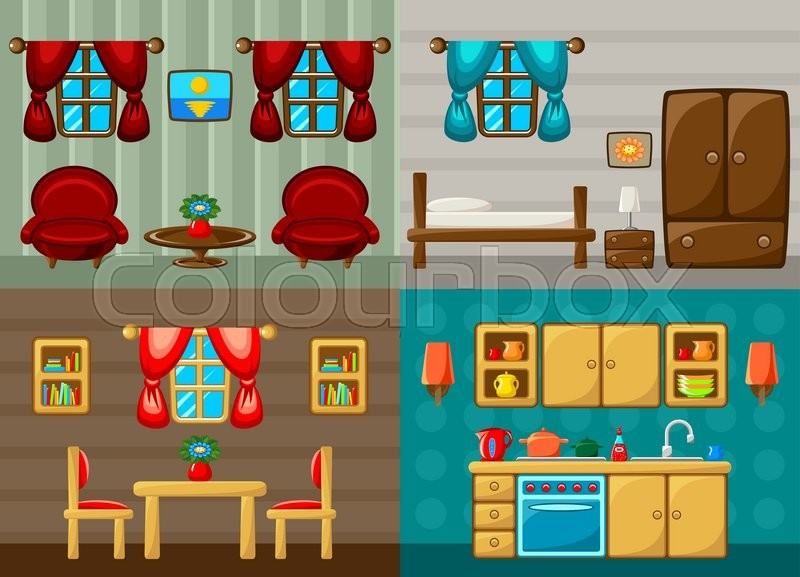 Stock Vector Of U0027Four Vector Rooms   Bedroom, Drawing Room, Dining Room And