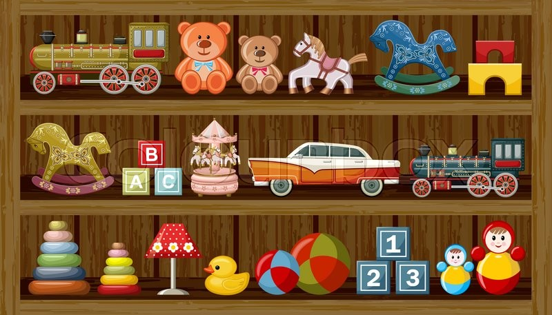Stock Vector Of Wooden Show Window Shop With Vintage Toys Illustration