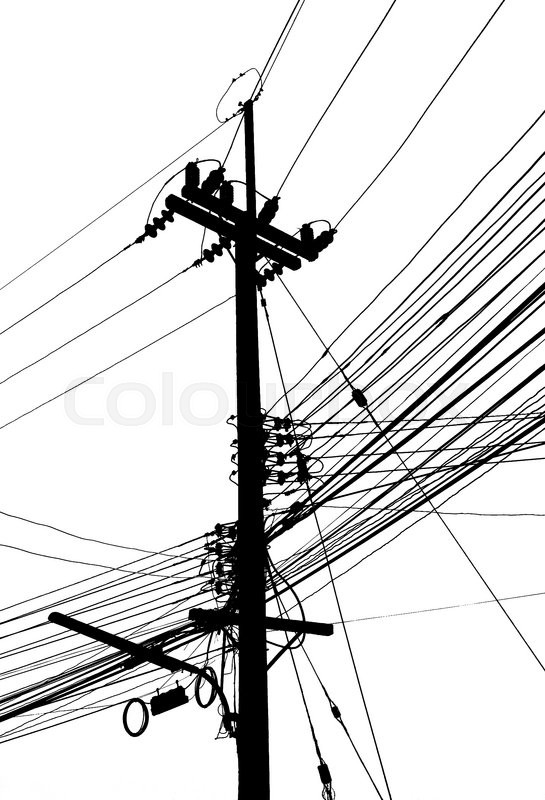 Electricity post and many cable on black and white color   Stock ...
