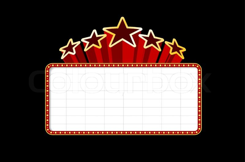 Blank Movie Theater Or Casino Marquee With Stars Isolated On Black Background